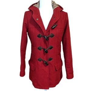 American Eagle Red Wool Blend Hooded Jacket Size S